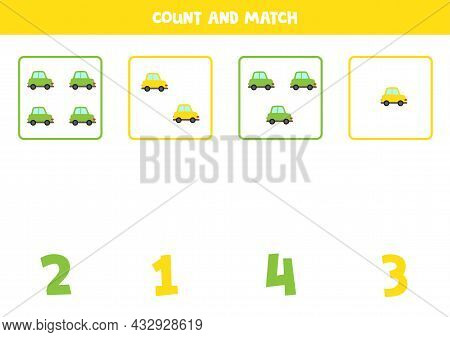 Count Cute Colorful Cars And Match With Correct Numbers. Math Game For Kids.