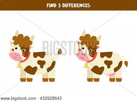 Find Three Differences Between Two Pictures Of Cute Cow.