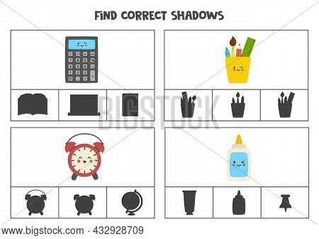 Find The Correct Shadows Of Pictures. Clip Cards For Preschool Kids. School Supplies.