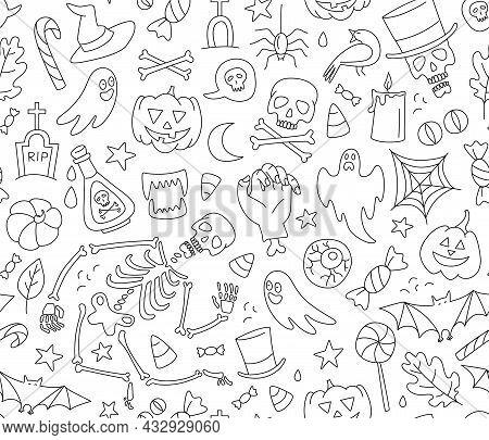 Halloween Seamless Pattern With Cute Skeleton, Pumpkins, Zombies, Ghosts, Treats