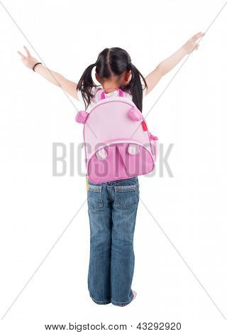 Full body rear view Asian child elementary student with schoolbag arms outstretched standing isolated on white background.
