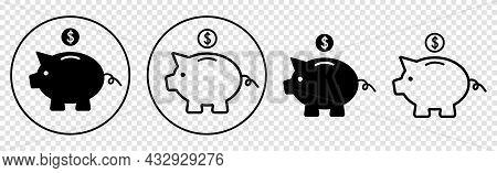Set Of Piggy Bank Icon. Vector Illustration Isolated On White Background