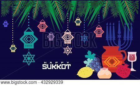 Happy Sukkot- Template Poster, Banner. Jewish Feast Of Tabernacles With Sukkah, Lemon, Etrog, Lulav,
