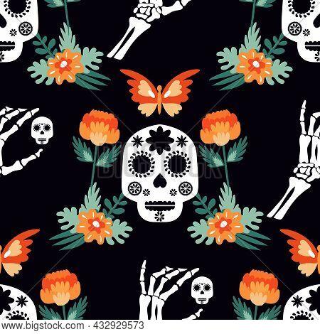Day Of The Dead, Dia De Los Muertos, Halloween  Festive Seamless Pattern With  Skulls, Skeleton Hand