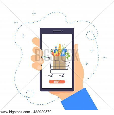 Food Delivery Concept. Order Grocery Online. Buying Groceries Online Using A Mobile App. Ordering Fo
