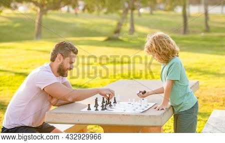 Checkmate. Spending Time Together. Strategic And Tactic. Tutorship. Dad And Kid