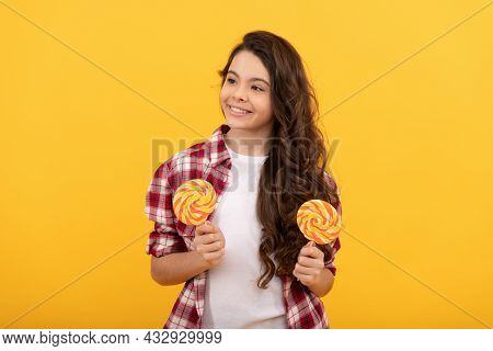Teen Dental Care. Sweet Tooth. Yummy. Happy Girl Hold Lollipop. Lollipop Child.
