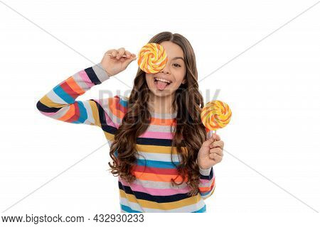 Funny Teen Girl In Sweater With Lollipop Candy On Stick Isolated On White Background, Caramel Shop.