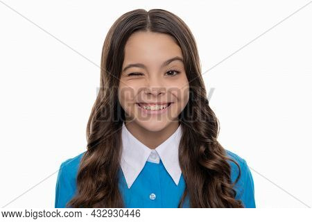 Winking Face Of Teen Girl With Long Curly Hair Isolated On White, Skincare
