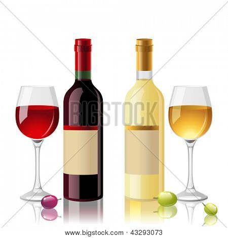 2 bottles of red and white wine with full glasses. EPS 10.