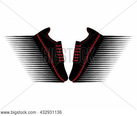 Two Sneakers With Speed Image. A Pair Of Sports Shoes For Running. Red And Black Silhouette. Sport F