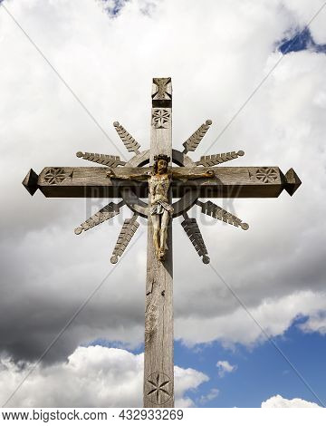 Close Up Shot Of Cross In The Hill Of Crosses A Famous Site Of Pilgrimage In Northern Lithuania.