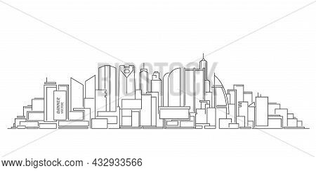 Architectural Urban Project.drawing Of Skyscrapers, Buildings.linear Cityscape .vector Illustration.