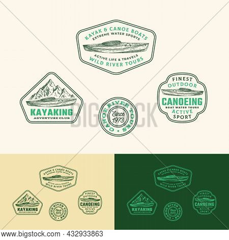 Kayaking Abstract Frame Signs, Labels Or Logo Templates Collection. Hand Drawn Kayak Or Canoe Boat A