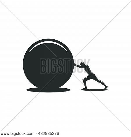 Purposeful Man Pushes A Round Stone To Achieve His Goal, Black And White Illustration Of The Ancient