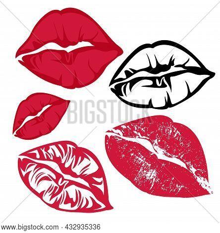 Red Lipstick Kiss Mark - Vector Design Set Of Voluptuous Lips Imprints Silhouette Outlines