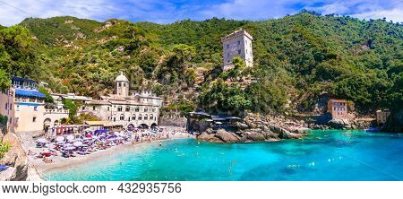 Best beaches of Italy - scenic small beach and  San Fruttoso monastery (abbey), Golf of Tiguilo in Liguria september 2021