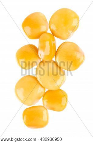 Pickled Yellow Lupine Beans Isolated On White Background. Tournus, Preserved Lupinus. Top View.