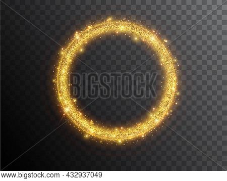Light Effect Circle Shape On A Black Background. Gold Glowing Neon Circle With Luminous Dust And Gla