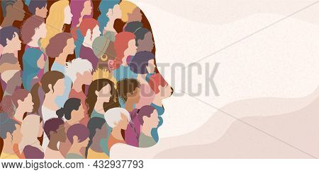 Woman Face Silhouette In Profile With Group Of Multicultural And Multiethnic Women Faces Inside.conc