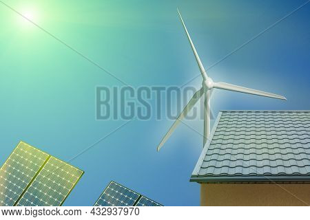 Wind Turbine And Solar Panels, Photovoltaic And House Sunlight. Alternative Electricity Source Conce