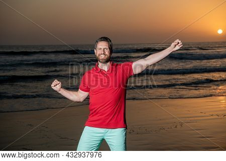 Happy Man Celebrating Success Over The Sea On Sunsdown Summer Beach, Happiness