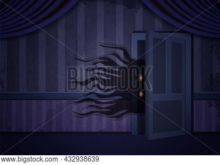 Aged Old Room With Blue Striped Grunge Wallpaper And Creepy Creature Out Of Door