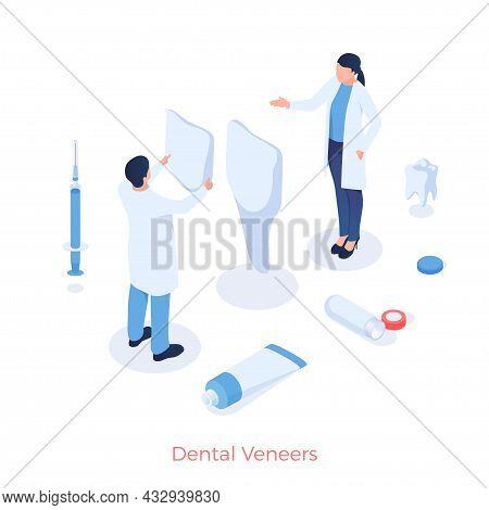 Dental Aesthetic Veneers. Dentists Put On Healthcare Cosmetic And Medical Dental Onlays. Nice Treatm