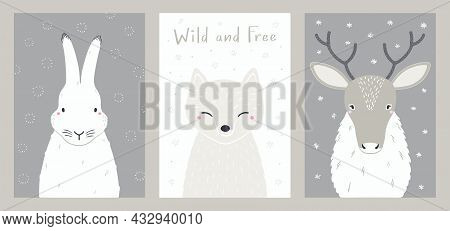 Cute Cartoon Animals Portraits Set, Arctic Hare, Fox, Reindeer. Hand Drawn Vector Illustration. Wint