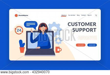 Web Customer Support. Consultant Assistance On User Request. Contact Line For Solving Problems With