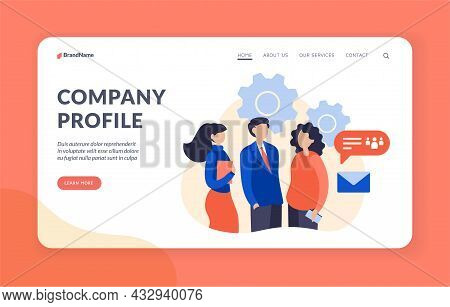 Company Work Profile. Business Management And Strategy With Professional Staff. Communication With C