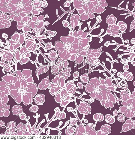 Vector Hand Drawn Repeat Pattern With Pink Roses On Pastel Pink Background. Linear Flowers Texture,