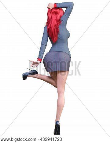 Sexy Woman Red Hair Office Secretary.