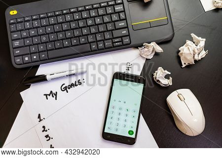 Detail Of Pc Mouse, Coffee And Keyboard In Bucharest, Romania, 2021