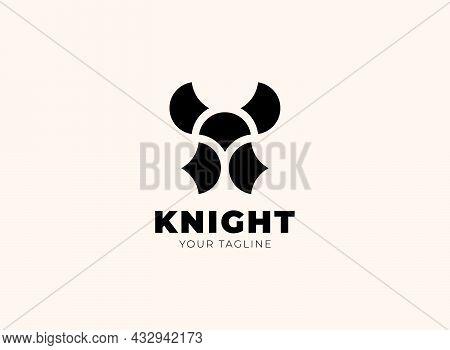 Knight Helmet Logo In Abstract Geometric Style. Medieval Warrior Hero Metal Head Symbol. Spartan, Tr