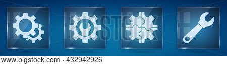Set Gear, Wrench Spanner And Gear, Gear And Wrench Spanner. Square Glass Panels. Vector