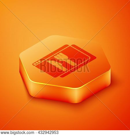 Isometric Online Ordering And Fast Food Delivery Icon Isolated On Orange Background. Orange Hexagon