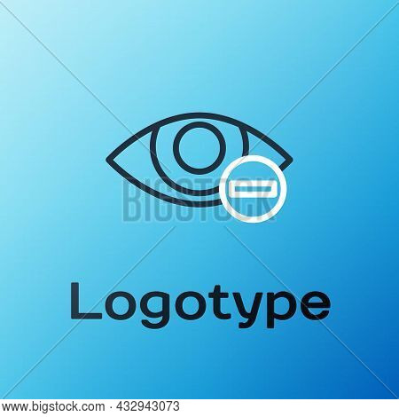 Line Red Eye Effect Icon Isolated On Blue Background. Eye Redness Sign. Inflammatory Disease Of Eyes