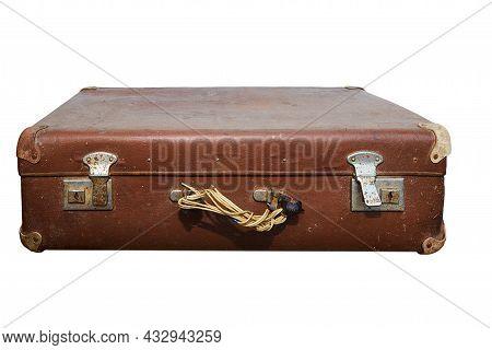 Old Shabby Suitcase Without Handle Isolated On White Background