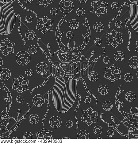 Seamless Pattern With Contour Beetles, Deer And Flowers, Light Contour Insects On A Dark  Background