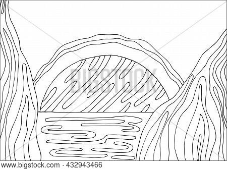Doodle Alien Fantasy Water Landscape With Big Planet Coloring Page For Adults. Fantastic Psychedelic