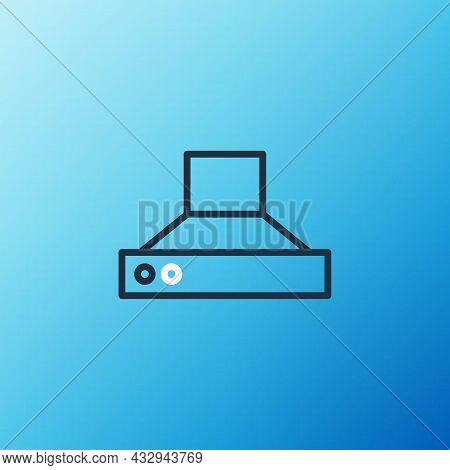 Line Kitchen Extractor Fan Icon Isolated On Blue Background. Cooker Hood. Kitchen Exhaust. Household