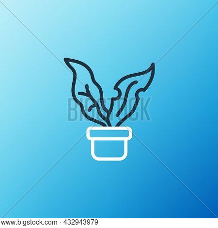 Line Plant In Pot Icon Isolated On Blue Background. Plant Growing In A Pot. Potted Plant Sign. Color