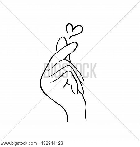 Sketch Doodle Of Hand Showing Heart With Fingers Gesture Mini Love. Hand Drawn Vector Line Art Illus
