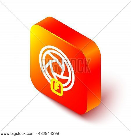 Isometric Line Camera Shutter Icon Isolated On White Background. Orange Square Button. Vector