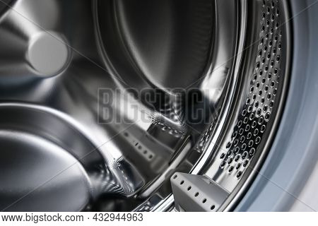 Washer Drum Close Up, Washing Machine Inside, Laundry Concept