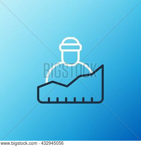 Line Growth Of Homeless Icon Isolated On Blue Background. Homelessness Problem. Colorful Outline Con