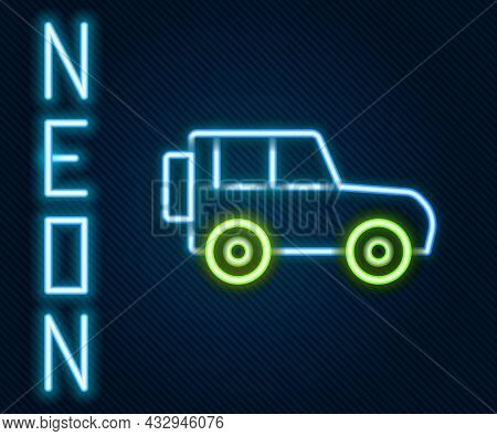 Glowing Neon Line Off Road Car Icon Isolated On Black Background. Colorful Outline Concept. Vector