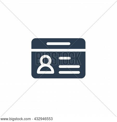 Id Card, Car Drive Licence, Identity Pass Solid Flat Icon. Vector Illustration