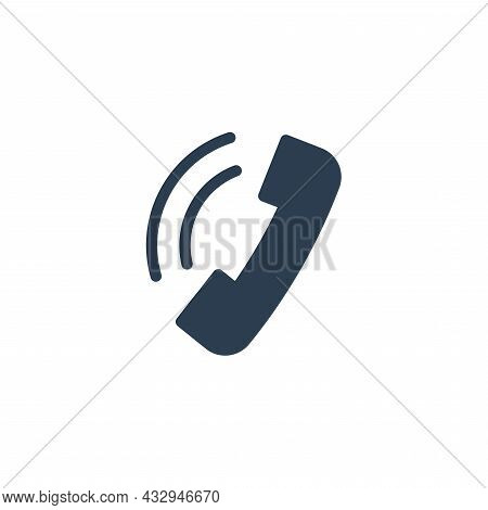 Telephone Call, Contact Us, Handset, Phone Solid Flat Icon. Vector Illustration